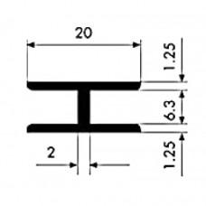 Dwuteownik aluminiowy 20x6,3x1,25 Długość 1 mb